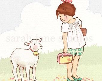 Children's Wall Art Print - My Little Lamb - Girl Kids Nursery Room Decor