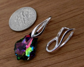 Sterling silver, pendant bails, pinch bails, silver pendant, pendant bail, Swarovski Crystal, or other, beads,  silver pinch bail