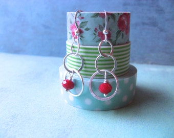 Circle Earrings Sterling Silver Lightweight Earrings Sister Gift Friend Gift Red earrings Gifts Under 30