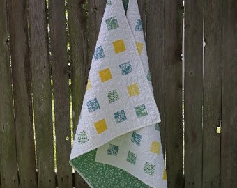 baby lap quilt, boy or girl, gender neutral, modern patchwork, green, white, yellow, blue, hand-made