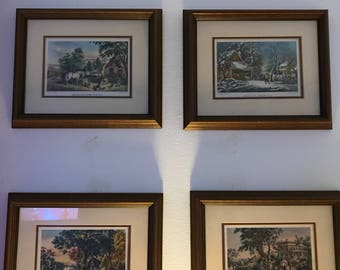 4 - N. Currier & Ives Framed Prints with double matting - Beautiful  Americana!! American Country Life, American Farm Scenes