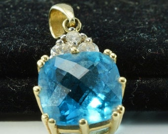ON SALE Cushion Cut Blue Topaz Pendant with Diamonds