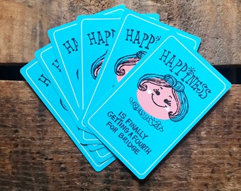 Vintage Playing Cards - Set of 6 - Cute Lady, Vintage Girl Cards, Girl Playing Cards, Blue Cards, Happiness Cards, Junk Journal, Ephemera