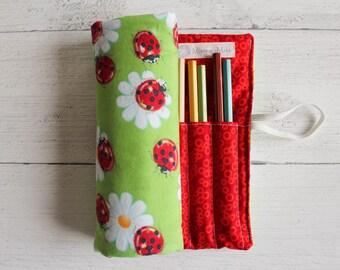 Rotolastuccio LADYBUGS-handmade cotton roll pouch