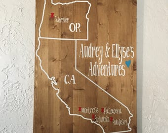 Custom State Wood Sign - State Wall Decor - State Adventures - State Art - State Sign n- Personalized State Wood Sign - Adventure Sign