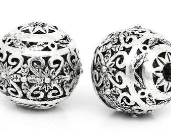 Hollow Flower Spacer Beads Round Silver Plated 11mm x 10mm, Qty 10