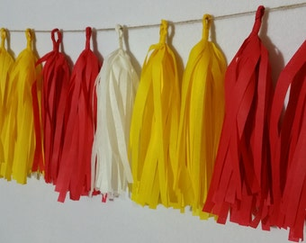 SHIPPED NEXT DAY, 20 Tassel Kansas City Chiefs Tissue Paper Garland, Chiefs Football Party Decorations, Red White Yellow Gold, Super Bowl