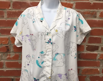 Vintage 80s White Abstract Illustrated Faces Print Button Down Shirt Womens