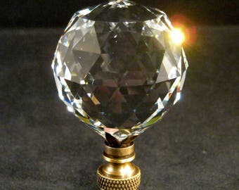 Lamp Finial-Faceted Leaded Crystal Ball**Antique Brass Base**