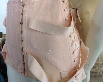 Vintage 1940's fan lacing peach pink corset girdle with garters size 32