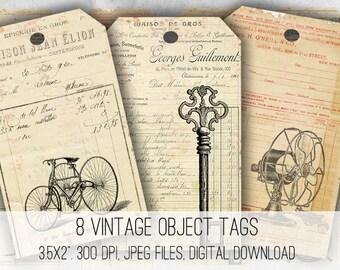 Digital Images - Digital Collage Sheet Download - Vintage Ephemera Tags -  1050  - Digital Paper - Instant Download Printables