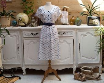 Vintage 1970s Summer White Dress with Polka Dot
