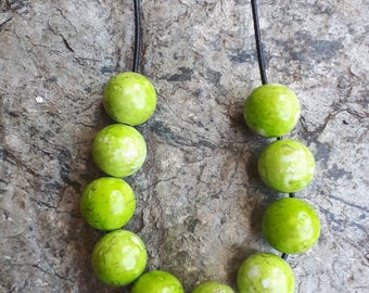 Lime Green Speckle Beaded Necklace