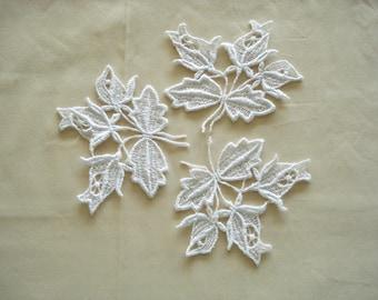 Venice Lace Embroidery Appliques in White Color.