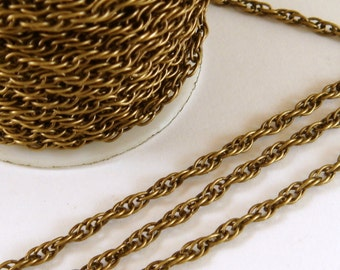 25ft Bronze Pretzel Chain 3mm Antique Bronze Plated Iron Not Soldered - 25 ft - STR9021CH-AB25