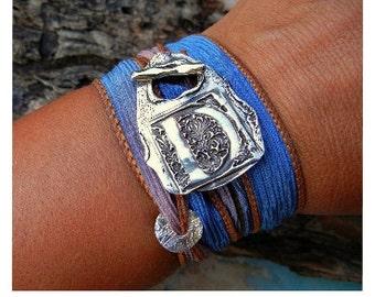 Personalized Jewelry, Monogram Bracelet, Personalized Wrap Bracelet, Silver Wrap Bracelets, Silk Wrap Bracelet, Custom Personalized Gift