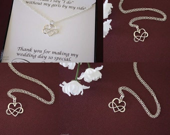 4 Bridesmaid Infinity Gifts, Infinity Heart Necklace, Infinity Jewelry, Best friend Gift, Thank You Card,  Sterling Silver, Sister,