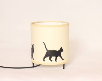 table lamp cats, lamp cats, lampshade cat, kitten, cat silhouette lamp, bedside lamp cats, little lamp cats, lighting cats, lampshade cats
