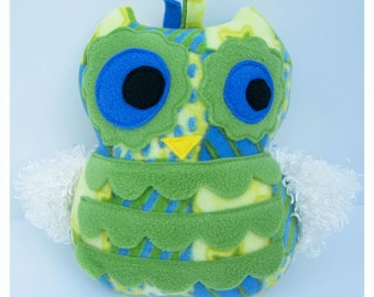 Blue, Green and Yellow Print Owl with Cream Fur Wings