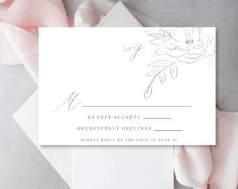 Floral Sketch Wedding invitation, Watercolor Sketched Flowers, Wedding Invitations - deposit to begin