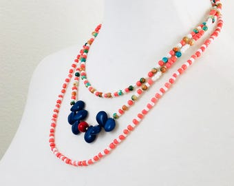 FREE SHIPPING | Triple Strand Beaded Necklace for Women | Orange Necklace | Royal Blue Beaded Necklace | Tropical Necklace | Beaded Necklace