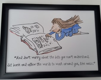 A4 Matilda Quote and Watercolour Painting Roald Dahl Quentin Blake Hand Painted Reading Book A5 8X10 inch