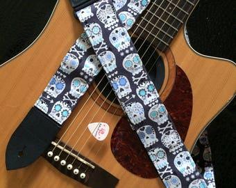 Skull guitar strap // sugar skulls in white, grey and blue // day of the dead calaveras // dia de los muertos // pastel punk guitar strap