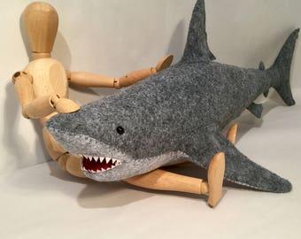 Great White Shark Soft Sculpture, Shark lover gift