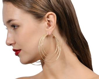 Silver hoop earrings, gold hoop earrings,multiple circle earrings,  big hoop earrings, simple hoop earrings, large hoop earrings, thin hoops