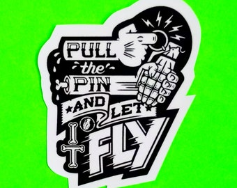 Pull the Pin and Let It Fly Grenade Destroyer Bomb Zombie Arms Black and Grey Scale Old School Tattoo Style Punx Crust Glossy Vinyl Sticker