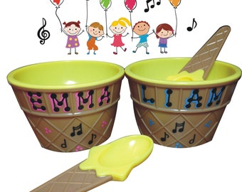 "Music Party Favor Ice Cream Bowl / Personalized Party Favor / 4"" wide x 2.5"" tall / Ice Cream Dish / Personalized and Gift Wrapped"