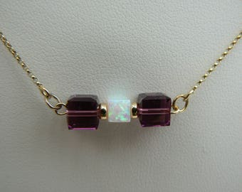 Art Deco style 9ct bar necklace with Opal & purple Amethyst crystal cubes