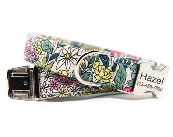 Floral Dog Collar, Personalized Dog Collar, Green and Pink Floral Collar- Flourish