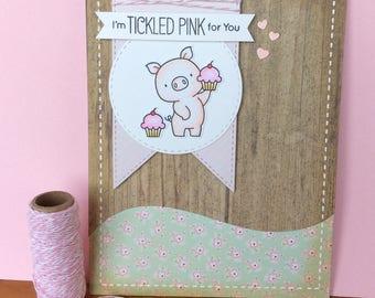 Handmade pig and cupcakes birthday card