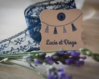 30 étiquettes personnalisées mariage - 3.5 cm