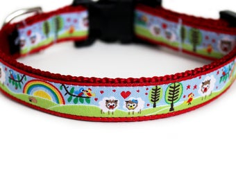 Spring Dog Collar, Can be Personalized, Girl Boy Dog Collar with Rainbows & Hearts, Benefits Animal Rescue, Small Dog Collar- Little Lamb
