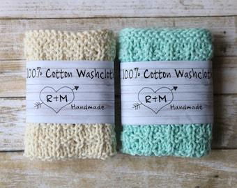 Ready To Ship, Knit Washcloths, Eco Friendly, Knit Washcloths, Set Of Two, Cotton Scrubbie, Mint Dishcloth, White Dishcloth