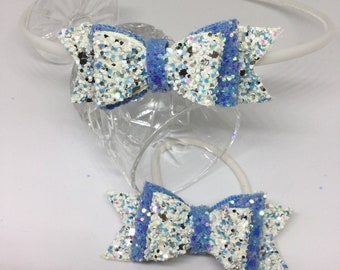 Girls Glitter bows Alice band and bobble set - blue and confetti