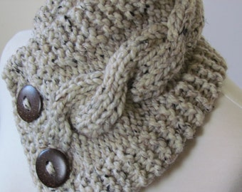 "Knit Neck Warmer, Cable Knit Scarf,  Chunky Warm Winter Scarf in Oatmeal 6"" x 25"" Coconut Shell Buttons Ready to Ship - Gift for Her"