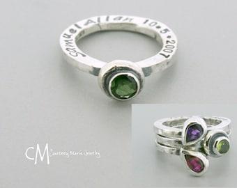 Birthstone Stacking Ring -  Birthstone Ring - Stacking Ring - Silver Birthstone Stacking Ring - 5mm round Birthstone Ring - Push Present