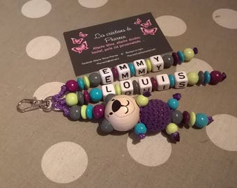 Keychain personalized with 2 names Teddy bear 3d medium silver white light pink crochet ball