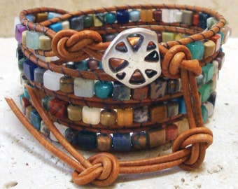 Mixed Gemstone 4mm Cubes & Drums Beaded Leather 4-Wrap Bracelet