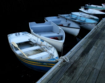 Boats in Bar Harbor Maine Photograph Pier Coast Morning Rowboats Fine Art Photography Art Print Home Decor Nautical Art Peaceful