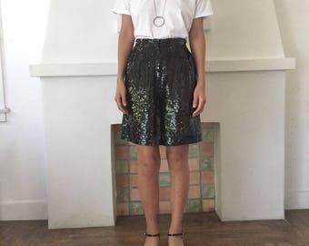 VTG 90s Unisex All Over Black Sequin Sparkle High Waisted Long Shorts