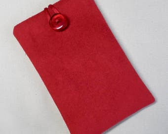 Handmade iPod nano 7th and 8th generation pouch. Bright Red faux suede.