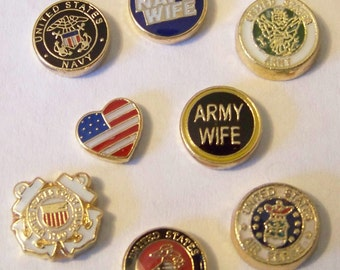 Floating Military and Patriotic Charms, will fit into any brand of floating charm locket neclaces or bracelets....CHOOSE ONE