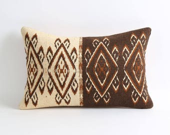 Soft kilim pillow cover, kelim kissen, 12x18 kilim pillows brown cream