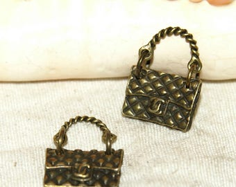 Pendant 2 X quilted bag hinged metal color bronze 22 X 16 mm