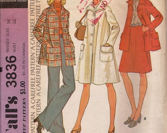 Vintage McCall's 3836, THEATRE, Misses' Coat or Jacket Sewing Pattern, 1970s