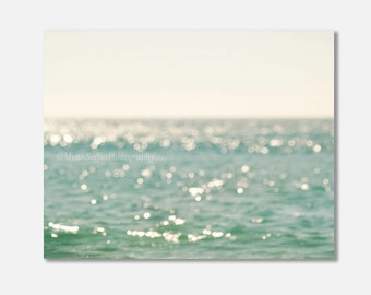 beach gallery canvas wrap, peppermint blue mint green decor, bokeh photography, ocean, water, nursery art, peaceful, sparkly, beach photo